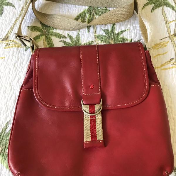 Bolsa em couro, vermelha, uncle k