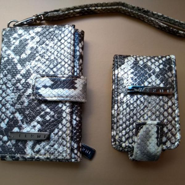 Conjunto de carteira e porta batom ferni