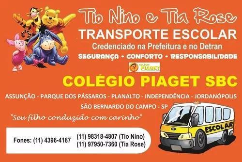 Transporte escolar exclusivo do colégio piaget sbc