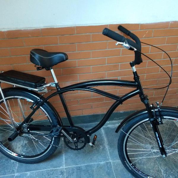 Bicicleta caiçara (beach bike) com paralamas e bagageiro