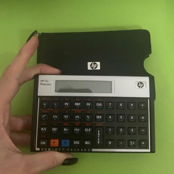 Calculadora 12c platinum com capa de couro,novíssima
