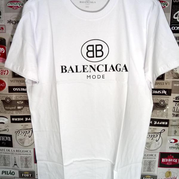 Camiseta balenciaga branca 100% algodão tam gg moda