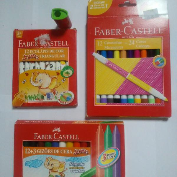 Kit escolar faber castell lápis de cor giz canetinhas