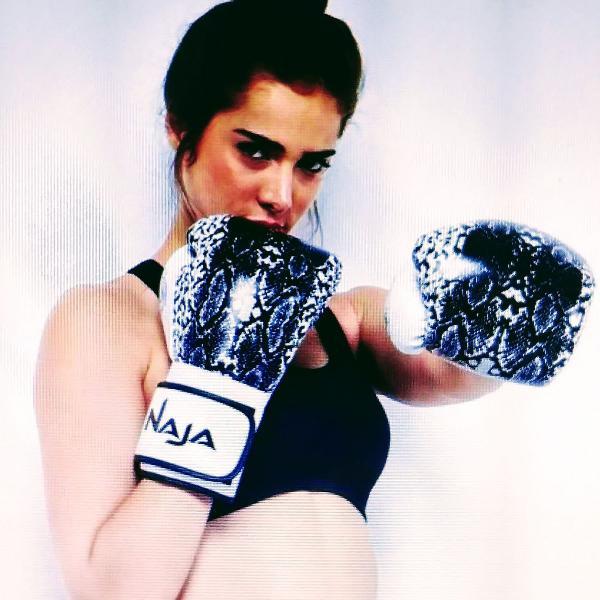 Luva de boxe/ muay thai feminina - naja animal print.