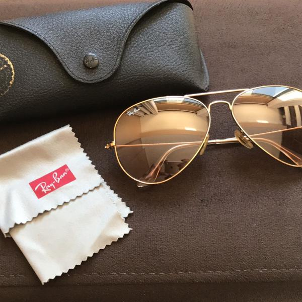 Ray ban aviador rose com dourado