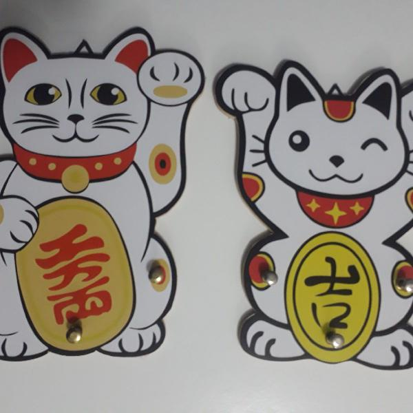 2 gatinhos da sorte maneki neko- porta chave