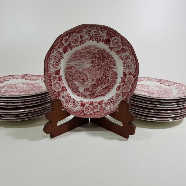 21 pratos para sobremesa em porcelana inglesa, manufatura