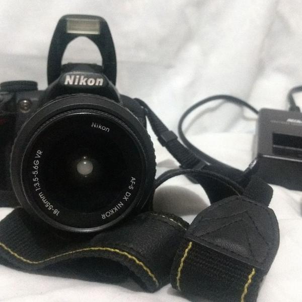 Câmera profissional nikon d3100 + lente + bateria +