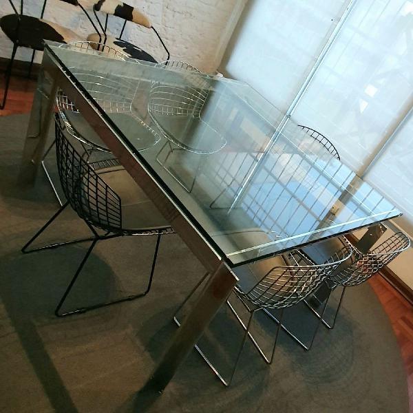 Mesa de jantar (ou reuniões) 1.40x1.40. aço inox polido e