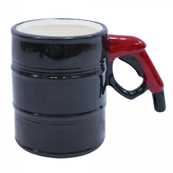Caneca 3d porcelana barril gasolina ótimo presente
