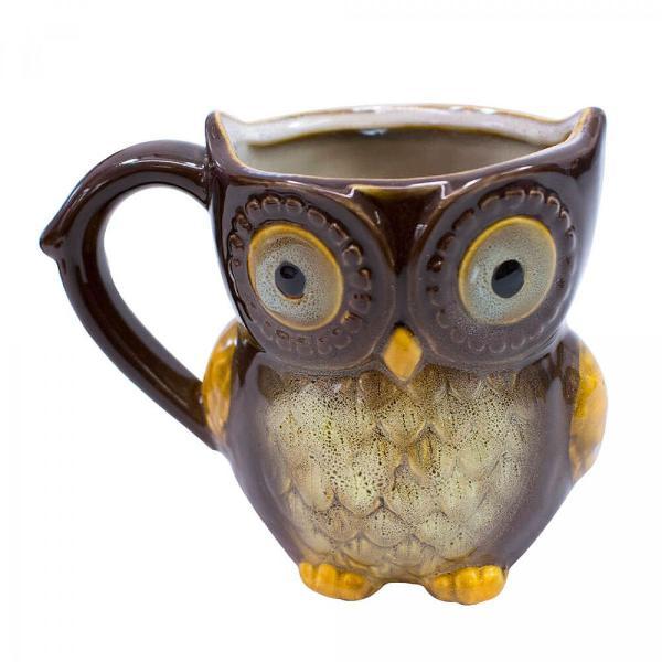 Caneca porcelana coruja marrom ótimo presente decoração