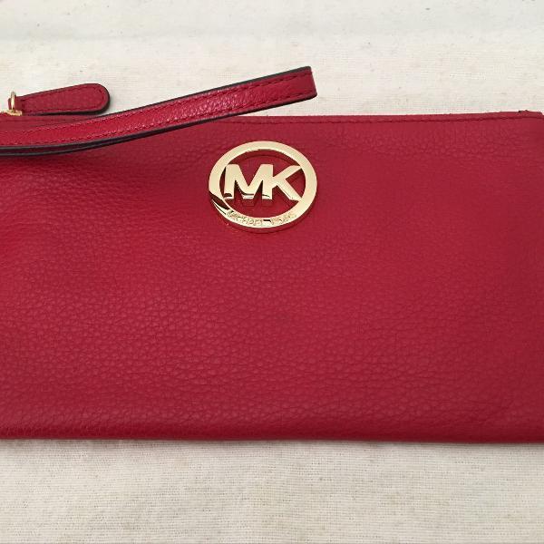 Clutch/bolsa de mão michael kors couro vermelho
