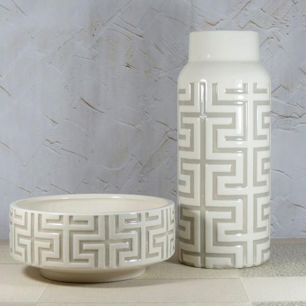 Conjunto vaso decorativo e centro de mesa branco e fendi