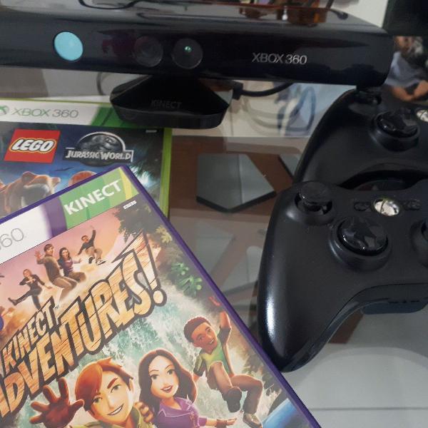 Kinect xbox 360+2 controles+2 jogos