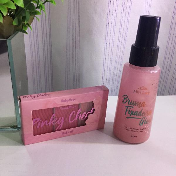 Kit mini paleta blush e iluminador + bruma glow