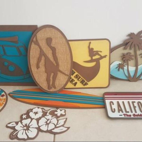 Kit placas decorativas surf