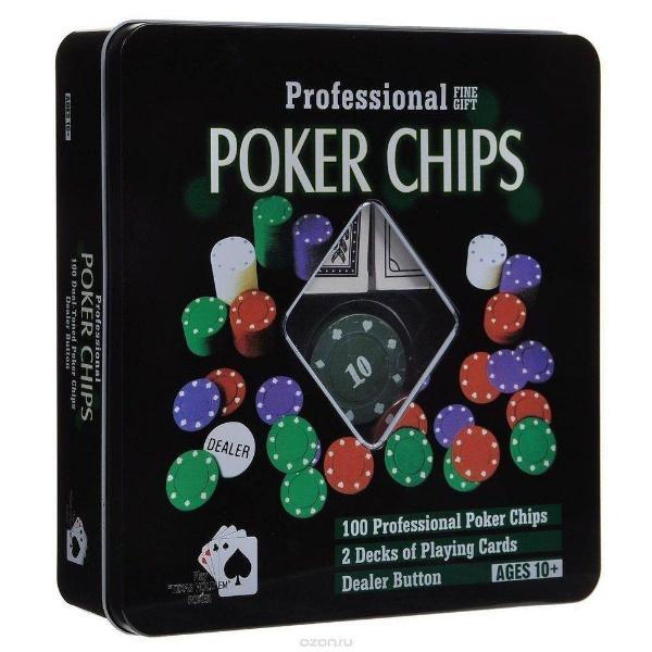 Kit poker professional com 2 baralhos + 100 fichas numeradas