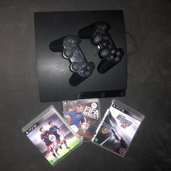 Ps3 com controle e +3 jogos