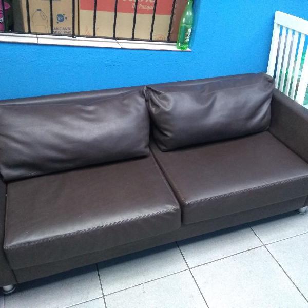 Sofa marrom café em perfeito estado bem cuidado couro