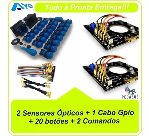 20 botões + 2 controles + 1 cabo gpio + 2 placas ópticas