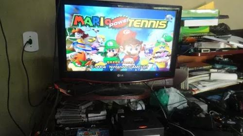 Game cube com mario power tennis completo e funcionando