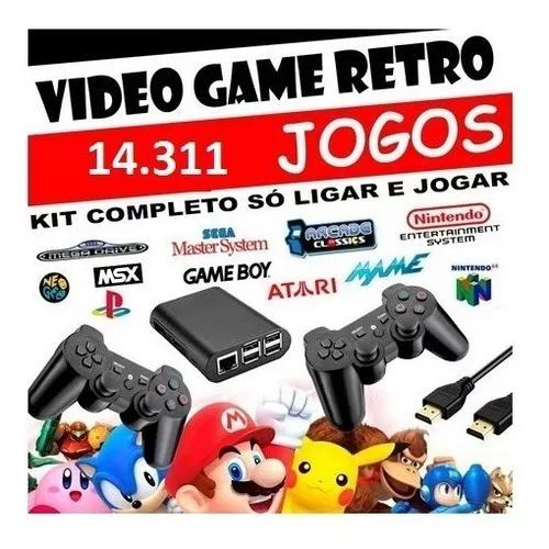 Game raspberry pi 3 128 gb 14.300 jogos 2 controles s