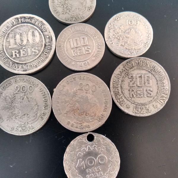 Lote de 8 moedas réis