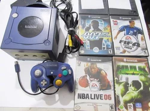 Nintendo game cube com 1 controle e 6 jogos originais