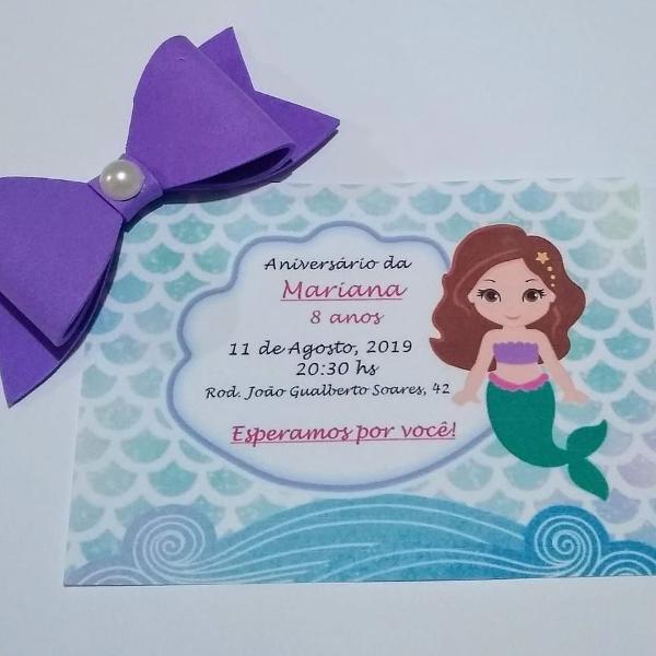 kit 20 convites sereia com aplique de laço