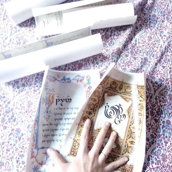 Kit 6 pôster pergaminhos élfico senhor dos anéis hobbit