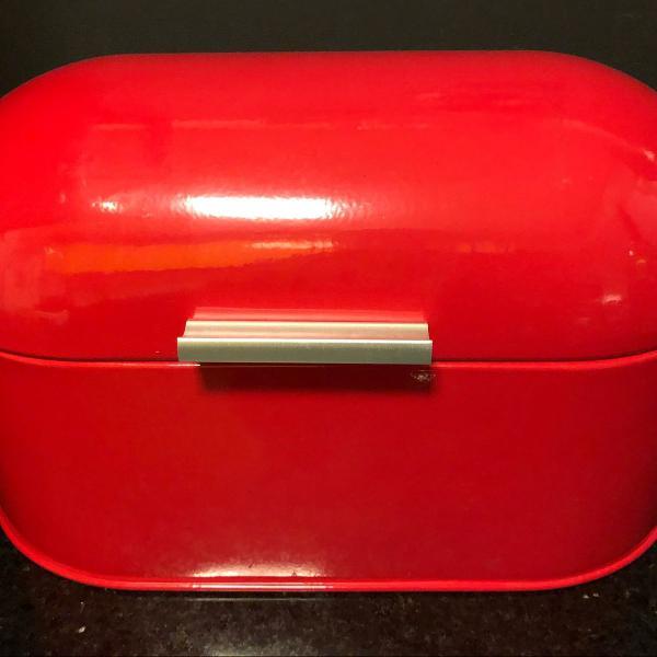 Porta-pão em aço inox vermelho etna
