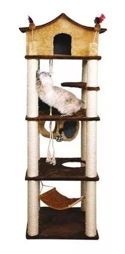 Arranhador para gatos castelo gigante com rede, casa e