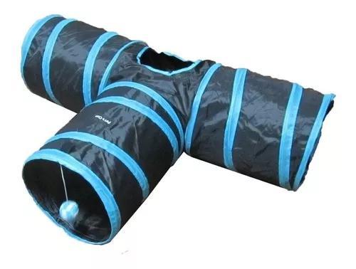 Brinquedo tunel gato formato t azul 3 saídas
