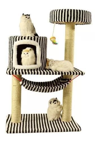 Casa cama torre arranhador rede gatos grande! bege e listras