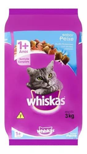 Ração para gatos sabor peixe whiskas 3kg