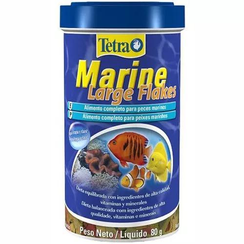 Ração tetra marine large flakes 80g peixes marinhos