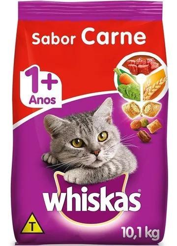 Ração whiskas carne para gatos adultos - 10,1 kg