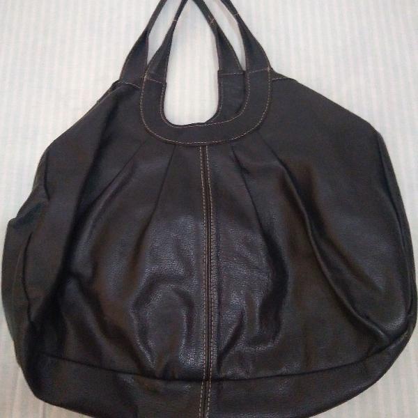 Bolsa couro preto via mia