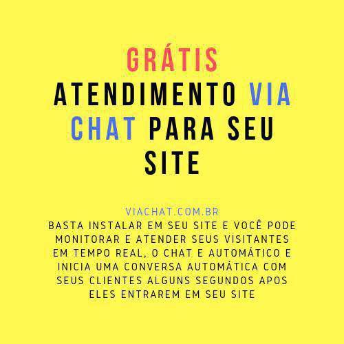 Grátis atendimento via chat para adicionar em seu site