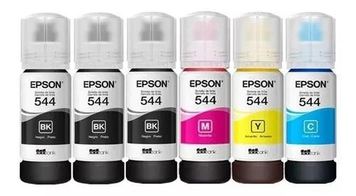 Kit 6 refil tintas epson t544 original l3110 l3150