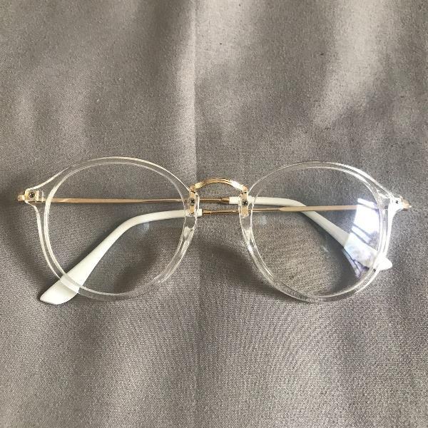 Armação óculos transparente acetato round dourado