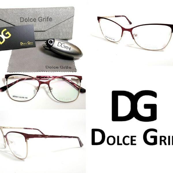 Armação para óculos de grau feminina dolce grife em metal