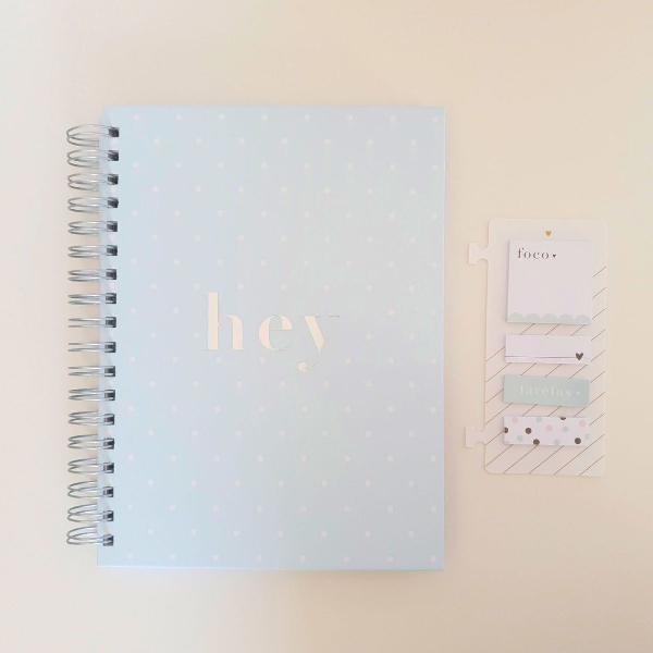 Conjunto caderno meg & meg hey azul + sticky notes foco