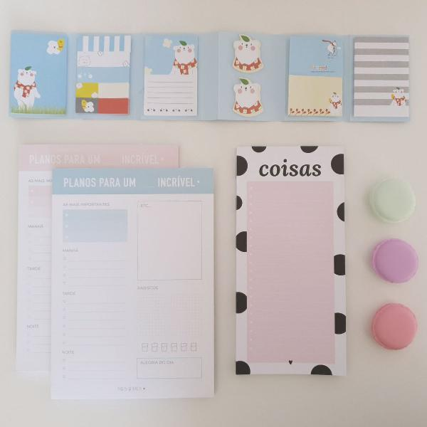 Conjunto kit papelaria fofa stationery planners post it
