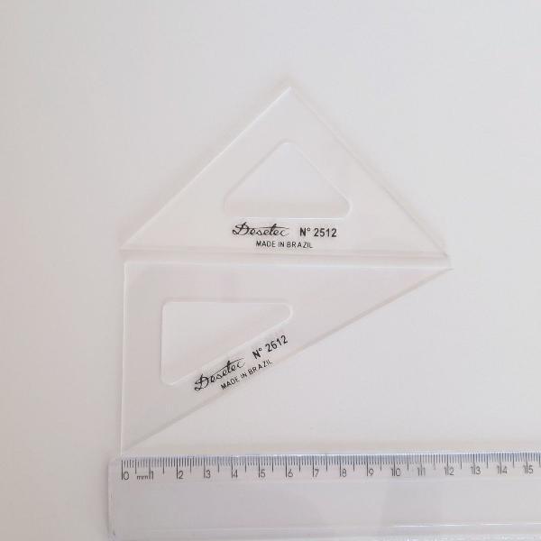 Conjunto mini esquadros 45° e 60° 12cm desetec 2512 2612