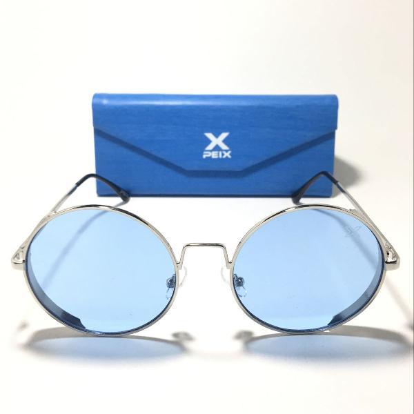 Culos de sol redondo vintage retrô chic azul