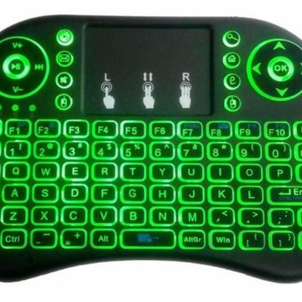 Mini teclado led luz sem fio wireless touch pad universal pc
