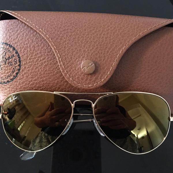 Oculos ray ban aviator large dourado