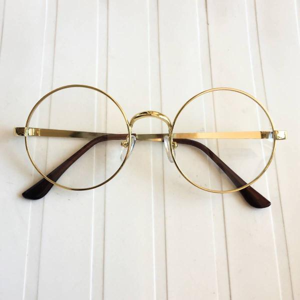 Oculos round dourado