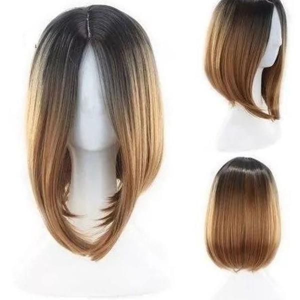 Peruca chanel ombre loiro mel + touca wig cap